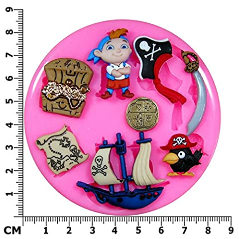 Pirate Treasure Island Ship Parrot Silicone Mould Mold for Cake Decorating Cake Cupcake Toppers Icing Sugarcraft Tool by Fairie