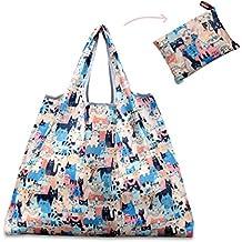 Borsa della spesa pieghevole, Teoyall riutilizzabile Grocery bag grande Eco friendly Heavy Duty lavabile Tote Colorful Cats