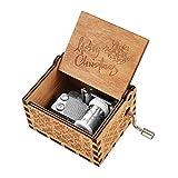 BOENFU Boîte à Musique en Bois à manivelle Antique sculpté Classique boîte décorative Cadeau pour Enfants Amis Famille Musique Jouet décoration de la Maison Cadeaux de Noël (Merry Christmas)