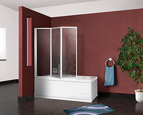 Box parete vasca doccia sopravasca cm.133/134,pannello pieghevole 3 ante colore In acrilico