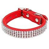 Tiaobug PU-Leder Hundehalsband Rund Schwarz Pink Lila Blau Rot Verstellbar Strass Pet Halsbänder für Kleine Hunde (Rot)