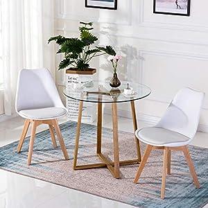 H.J WeDoo Esstisch Glas Runder Küchentisch Skandinavisch Couchtisch Klein Tisch HxD: 75 x 80 cm Metallbeine Eichenfinish, Gummi Untersetzer, Transparent