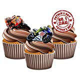AKGifts Vater 's Day Moto GP Themed Kuchen Dekorationen, essbar Stand-up Cup Cake Topper (Pack von 12)