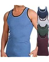 5 Stück MT® Feinripp Tanktop Melangefarben - Herren Unterhemd Achselhemd im 5-Farb-Pack