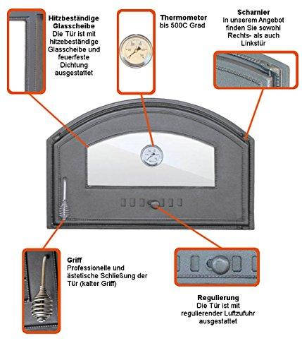 Backofentür Ofentür Pizzaofentür Holzbackofentür Steinbackofentür aus Gusseisen mit Thermometer und Ofenscheibe | Außenmaße: 700×460 mm | Öffnungsrichtung: links