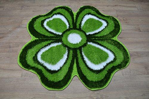 Tappeto Shaggy moderno morbido e setoso Sparkle in soffice pile a forma di fiore non lucido, Green, 120 cm x 120 cm
