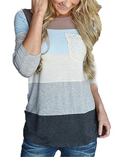 AILIENT Donne Lungo Manica T-Shirt Camicia Rotondo Collo Cucitura Felpa A Righe Maglietta Tops Eleganti Camicetta Moda Maglie Casual Gray