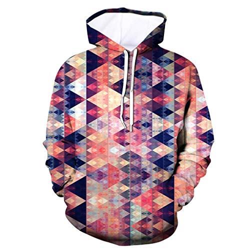 Xmiral Herren Slim Fit Hoodie Lange Ärmel Kapuzenpullover 3D Druck Farbig Sweatshirt Pullover Hooded Streetwear Hemden Strickwaren(f Mehrfarbig,XL)