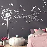 Wandtattoo Loft Wandaufkleber Pusteblume Schmetterling mit Ihrem Wunschtext/ bis zu 15 Wörter frei wählbar / 54 Farben / 3 Größen / weiß / 1,14 m Höhe x 3,59 m Breite