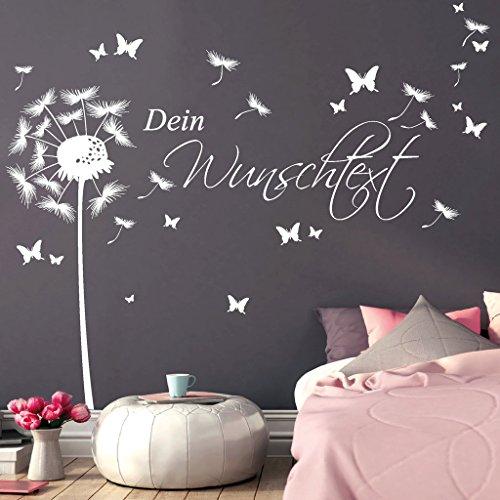 """Wandtattoo """"Pusteblume Schmetterling mit Ihrem Wunschtext"""" von Wandtattoo-Loft® / bis zu 15 Wörter frei wählbar / Wandaufkleber / Wandsticker / 54 Farben / 3 Größen / silbergrau / 1,40 m Höhe x 4,42 m Breite"""