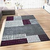 Teppich Kurzflor in Lila Grau Weiß Wohnzimmer Teppiche Modern Kachel Optik Kariert Pflegeleicht 120x170 cm