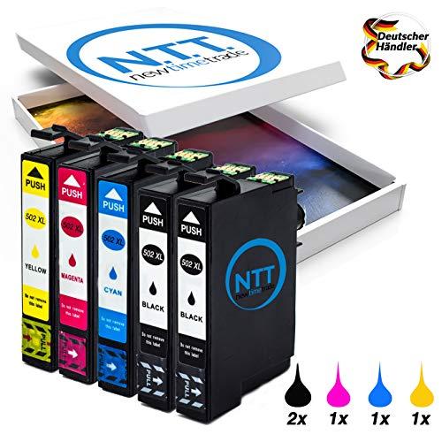 NTT 5 XXL kompatible Druckerpatronen/Tintenpatronen als Ersatz für Epson Expression Home 502XL 502-XL 502 (2 Schwarz,1 Rot,1 Blau,1 Gelb)