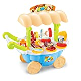 PROACC Children Trolley Cart Toy, Play House Toy, Pretend Play Toy BBQ Set, Kids Role Playing Toy, Mini Trolley Shop Toy with Light and Music