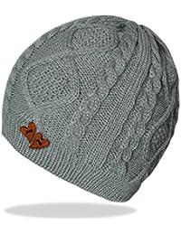 Damen Strickmütze Beanie Mütze für Frauen Wintermütze mit Holz-Herz Formen in 5 Farben - A046