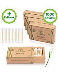 TRUE NATURE® [1000 Stück] Bambus Holz Wattestäbchen ohne Plastik   GRATIS E-Book   100% biologisch abbaubare Alternative   zero waste   Nachhaltig