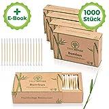 TRUE NATURE [1000 Stück] Zero Waste Bambus Wattestäbchen mit Bio Baumwolle - ohne Plastik - GRATIS...