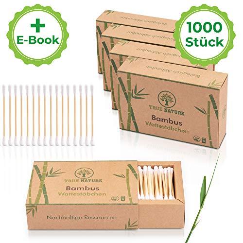 TRUE NATURE® [1000 Stück] Bambus Holz Wattestäbchen ohne Plastik | GRATIS E-Book | 100% biologisch abbaubare Alternative | zero waste | Nachhaltig