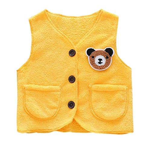 Neugeborene Kleidung ZJENE Tier Korallen Samt Jacken Baby Kleinkind warme Weste Kleidung Mantel (100, gelb)