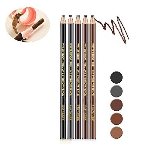 5 pièces/ensemble Crayon Sourcils Satin application en douceur Eyebrown Contouring Pencil etanche longue duree - pas besoin d'aiguiser le crayon - noir, gris foncé, café, marron, marron clair