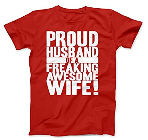 Mens Proud Husband of a Freaking Awesome Wife Funny Marriage T shirt (Red) 3XL