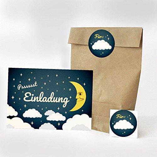 16 Einladungskarten, 16 Geschenktüten und 16 Etiketten zum Kindergeburtstag - Motiv Wolken Einladung - für Übernachtungs-Party / Geburtstagseinladungen Party