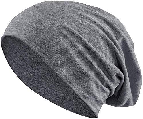 Jersey Baumwolle elastisches Long Slouch Beanie Unisex Mütze Heather in 35 (3) (Heather Dark Grey)