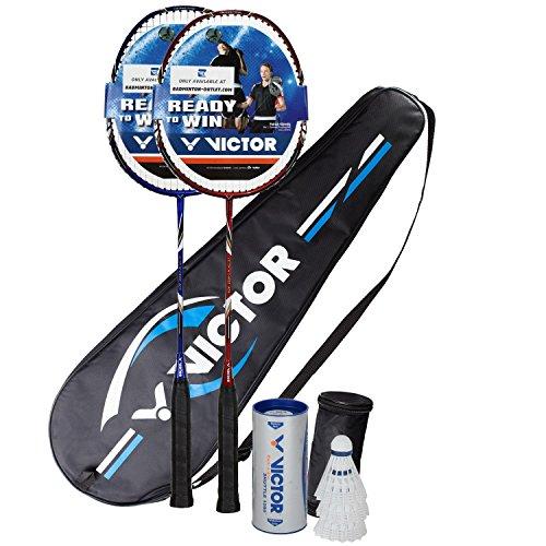 VICTOR Badminton Set, 2x V-3100 / Racketbag / 3x Nylonball, Rot/Blau
