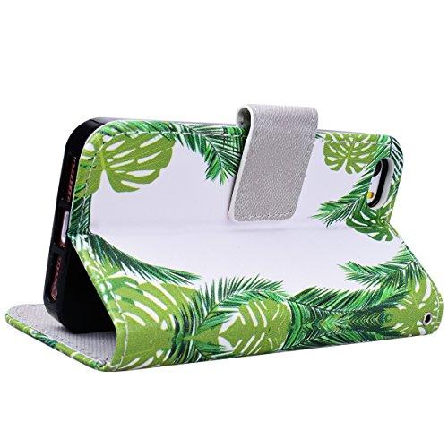 Yokata iPhone SE / iPhone 5 / iPhone 5s Hülle Leder Flip Wallet Case Ledertasche mit Kartenfach Ständer Halter Standfunktion Magnet und Weich Silikon Handyhülle Handy Etui Schutzhülle Protective Cover Grüne Blätter