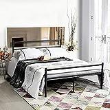 Aingoo Metallbett Doppelbett inkl. Lattenrost 4ft 6 Solid Bedstead Bed für Erwachsene Kinder in Schwarz