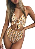 Happy Sailed Womens Print Tie Front One Piece Cut Out Swimsuit Monokini