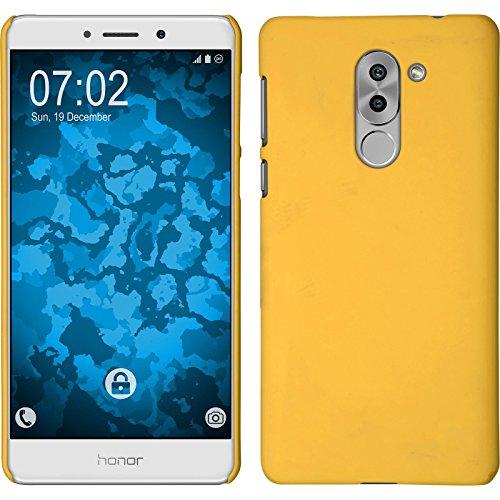 PhoneNatic Case kompatibel mit Huawei Honor 6X - Hülle gelb gummiert Hard-case + 2 Schutzfolien Gelb Hard Case