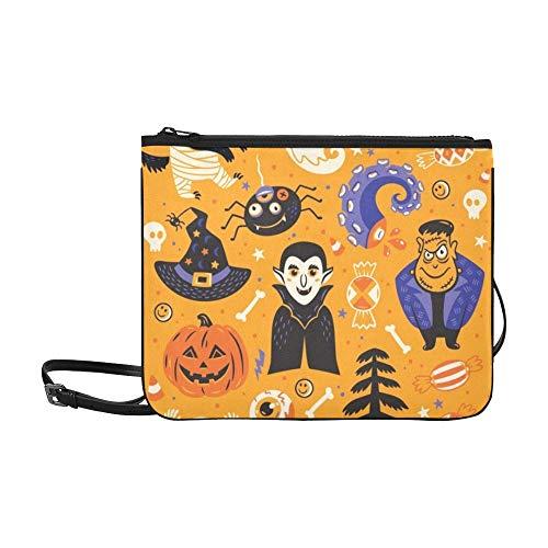 WYYWCY Happy Halloween Set Charaktere Icons Benutzerdefinierte hochwertige Nylon Slim Clutch Crossbody Tasche Umhängetasche