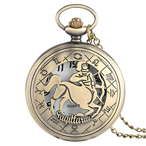 Freiheit-muster (JHYMM Taschenuhr Charm Sternzeichen Freiheit Schütze Anhänger Halskette Geschenke Freund Mens Womens Ladies Quarzt Krankenschwester Taschenuhren)