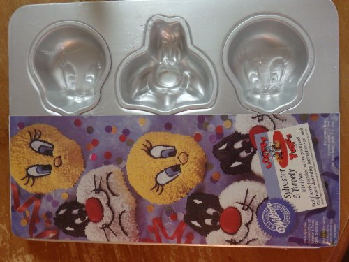 Wilton Cake Pan: Sylvester and Tweety Mini Treats Cupcake / Muffin / Candy Mold / Pan (2105-8471, 1994) ~ 6 Single Cavities by Wilton -