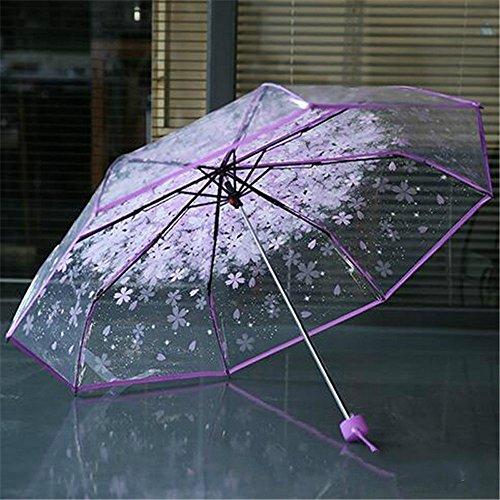 samLIKE Regenschirm,Transparenter klarer Regenschirm Kirschblüten Pilz Apollo Sakura 3 Falten Regenschirm (Lila)