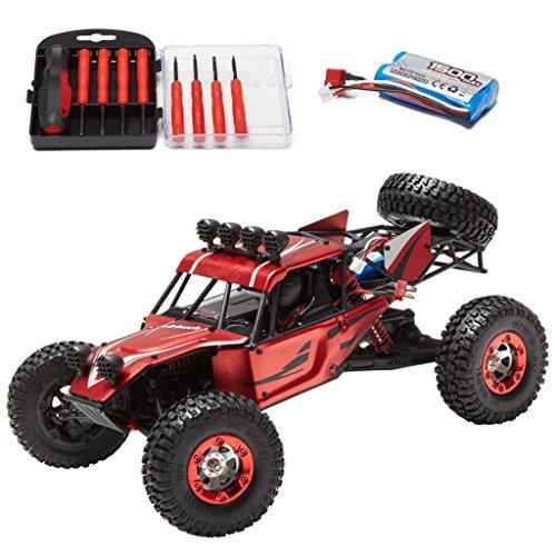 Virhuck V01 1:12 4WD Coche RC Alta Velocidad, Shell de Metal, 2.4GHz Camión Desierto Todo Terreno RTR, Distancia Remota 80-100M, 1500mAh, 40km/h Buggy, con Herramientas de Reparación - Rojo