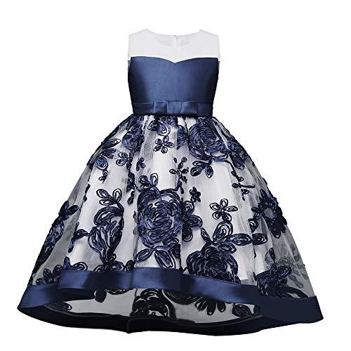 Kind 110-150 Wunderschön Blumenmuster Knielang Kleid Party Leistung Kinder Kleider Festlich Kommunikation Kleider Festkleider Kleid Partyskleid(Blau,140) ()