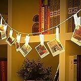 Denknova LED Foto Clip Lichterkette, 20 Foto Clips, 2.1M, Batteriebetrieben, Hängende Bilder oder Memos, Warmweiß