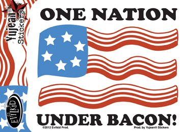 "Preisvergleich Produktbild Evilkid - Fly Colors One Nation Under Bacon Sticker - 3.5"" x 4.24"" - Weather Resistant, Long Lasting for Any Surface"