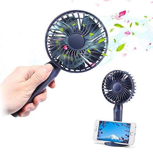 USB Handheld Ventilator, MECO ELEVERDE Mini Tragbar Fan Wiederaufladbar mit Handyhalter Design, 3 Modi der Windgeschwindigkeiten für Haus.Büro, Reisen und Outdoor (Fan Handheld Mini)