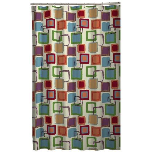 Maytex Squares Fabric Shower Curtain, Multi by Maytex (Lilly Pulitzer-weiß-baumwolle)