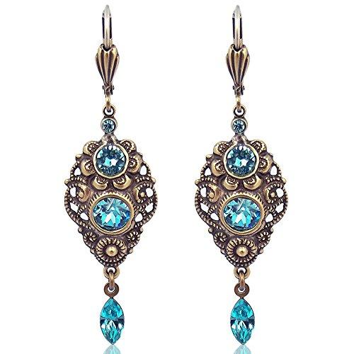 Jugendstil Ohrringe mit Kristallen von Swarovski® Türkis Gold NOBEL SCHMUCK
