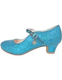 La Señorita Zapato Elsa Frozen azul corazón purpurina Flamenco Sevillanas de la princesa niña