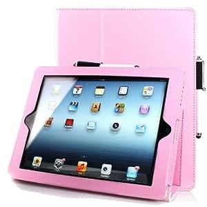ForeFront Cases Étui de luxe en cuir 4iPad 4/Coque avec support pour nouveau Apple iPad 4/4E génération nouvel iPad avec fonction veille automatique magnétique (Rose)