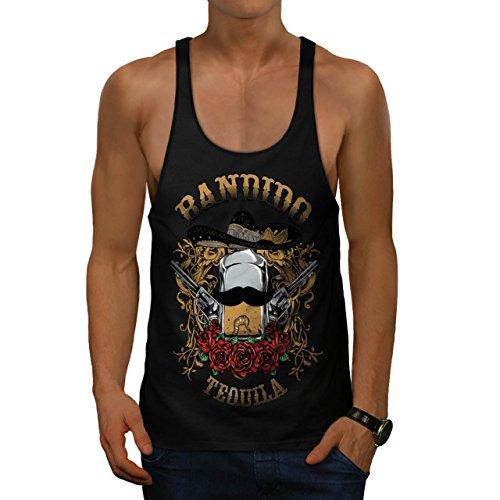 Bandido Tequila Rose Mexiko Gewehr Herren M Gym Muskelshirt   (Bandido Herren Kostüm)