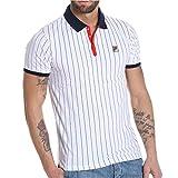 Fila Vintage Herren BB1 Vintage gestreiftes Polo-Shirt, Weiß, X-Large