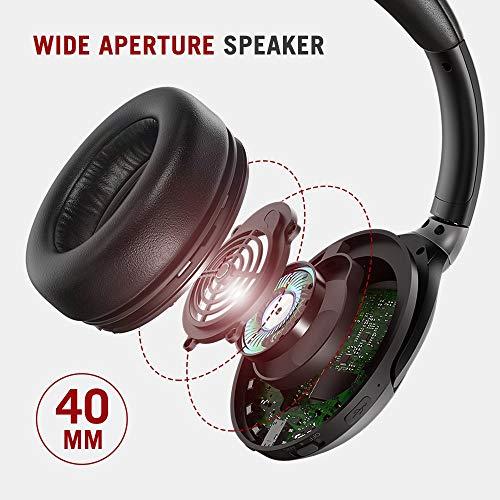 TaoTronics Active Noise Cancelling Kopfhörer aptX Bluetooth Kopfhörer ANC 22 Stunden Wiedergabezeit, aptX Audio in CD-Qualität, Geräuschunterdrückende kabellose Kopfhörer mit CVC 6.0 Mikro - 7