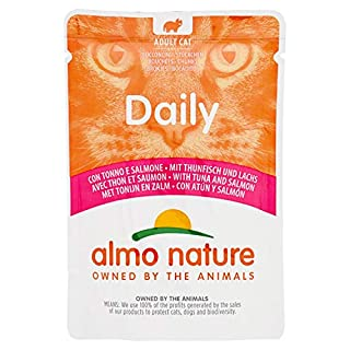 Almo Nature Daily Adult Cat Complete No Gluten Wet Food with Tuna and Salmon - (Pack of 30 x 70g Pouches)