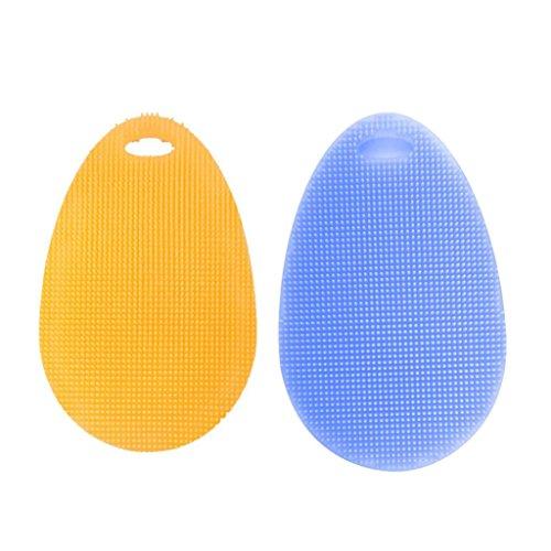 2PCs Silikon Gericht Waschen Schwamm Wäscher HARRYSTORE Küche Reinigung Antibakteriell Anti-heiß Werkzeug (B) (Schwamm Wäscher Und Halter)