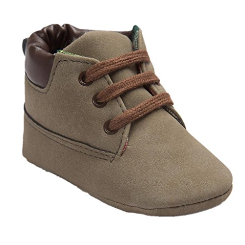 Koly_Scarpe in pelle molle del bambino Sole Bambino sveglio Shoes (Size:12=Age:6~12M, Marrone)